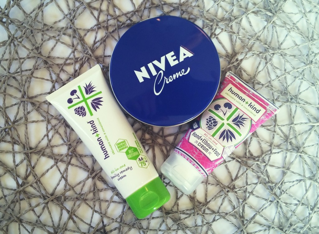 Nivea Creme vintage tin, Human+Kind Family Remedy Cream and Human+Kind Hand, Elbow, Heal Cream