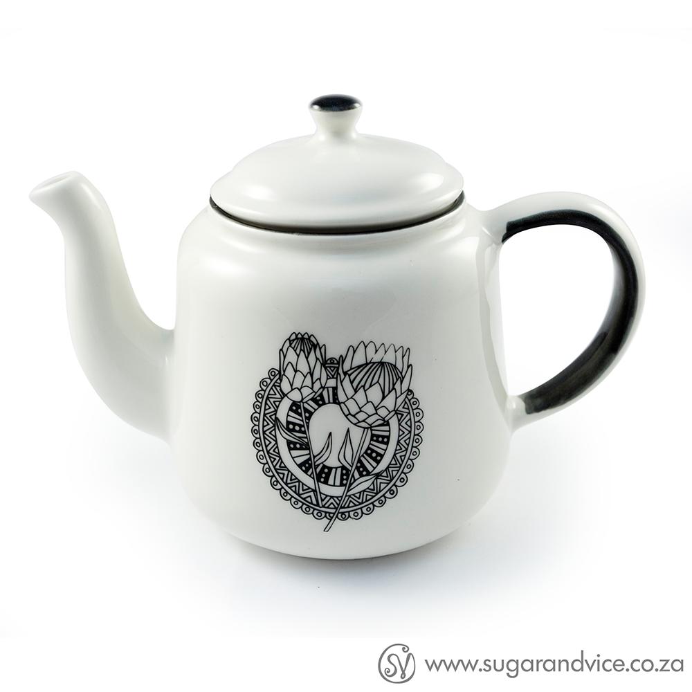 Protea Dreams Ceramic Teapot Sugar & Vice