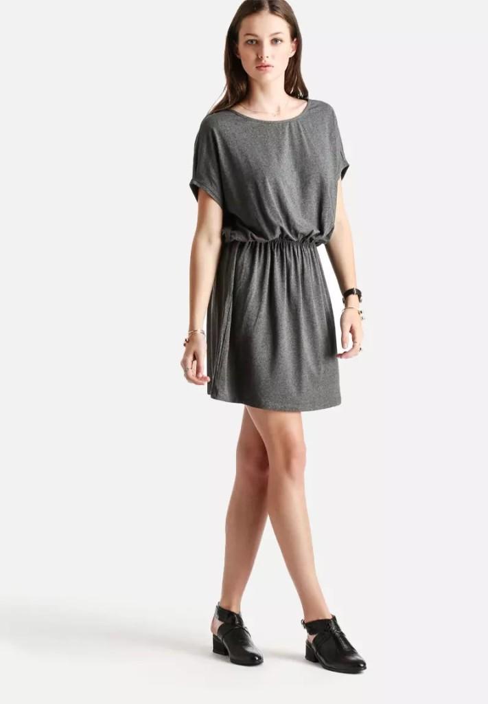 Diffa Stripe Short Dress - Dark Grey Melange Superbalist