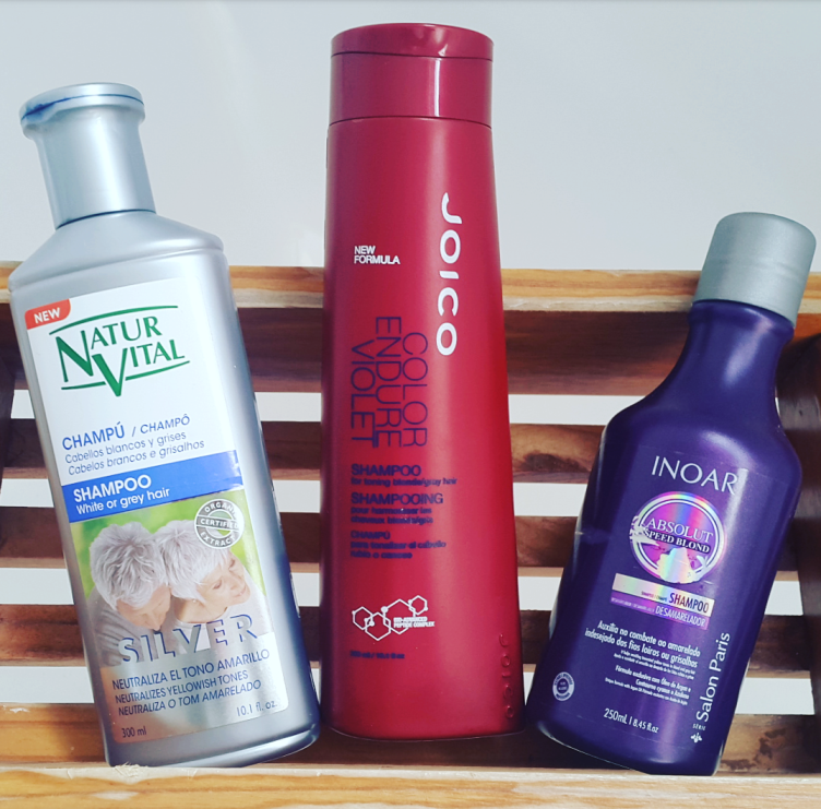 How to tone blonde and grey hair at home using violet shampoo